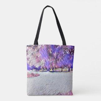 O bolsa pintado branco da paisagem do rosa do rosa