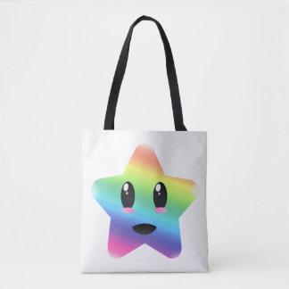 O bolsa super da estrela do arco-íris de Kawaii