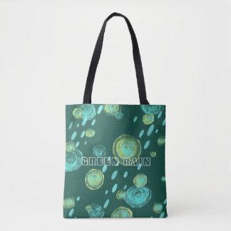 o bolsa verde do watercolour do abstrato da chuva