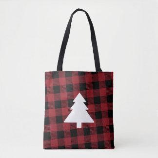O bolsa vermelho da árvore de Natal da xadrez do
