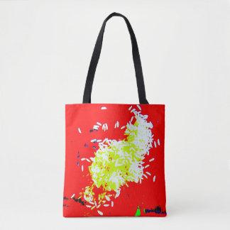 O bolsa vermelho do mercado do arroz feliz