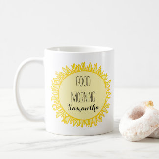 O bom dia Sun adiciona um nome Caneca De Café