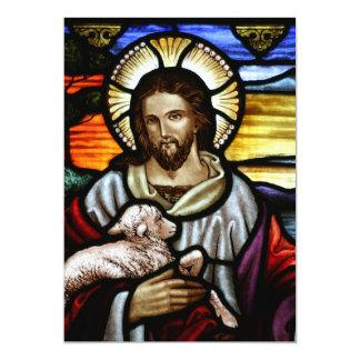 O bom pastor; Jesus no vitral Convite 12.7 X 17.78cm