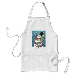 O boneco de neve alegre do feriado envolve o aventais