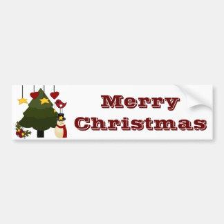 O boneco de neve bonito da árvore dos feriados do  adesivos