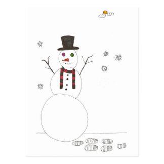 O boneco de neve cartão postal