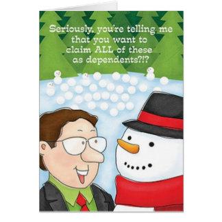 O boneco de neve do cartão de Natal do contador