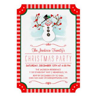 O boneco de neve & o Natal vermelho da família de Convite 12.27 X 17.78cm