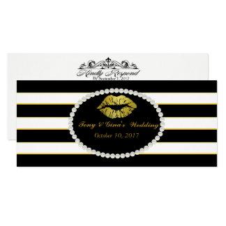 O bordo preto listrado & do ouro imprime cartões convite 10.16 x 23.49cm
