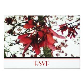 O bordo vermelho fecha RSVP botânico Convite 8.89 X 12.7cm