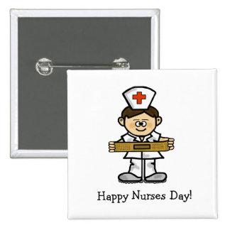 O botão masculino da enfermeira do dia feliz das e botons