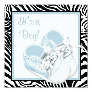 O branco azul calça o chá azul do bebé da zebra convite quadrado 13.35 x 13.35cm