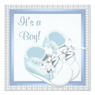 O branco azul calça o chá azul do bebé do laço convite quadrado 13.35 x 13.35cm
