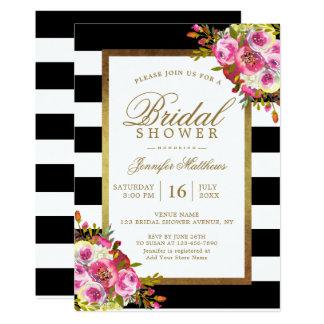 O branco chique floral do preto do ouro listra o convite 12.7 x 17.78cm