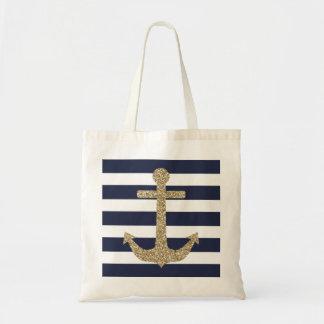 O branco do marinho da âncora do brilho do ouro bolsa tote