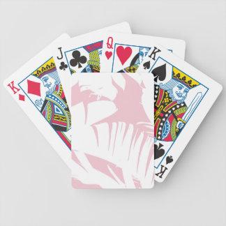 O branco na banana tropical cor-de-rosa deixa o baralhos de poker
