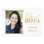 O branco, ouro, graduação 2014 da foto do vermelho convite personalizados