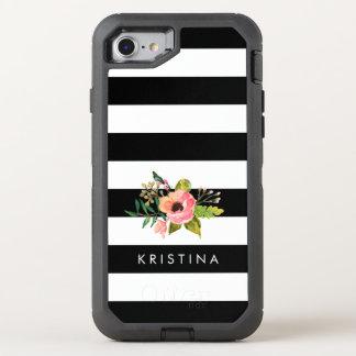 O branco preto clássico listra o nome floral capa para iPhone 7 OtterBox defender