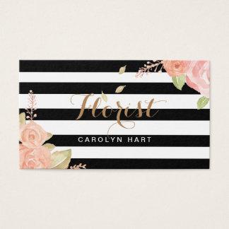 O branco preto na moda listra o cartão de visita
