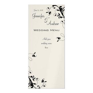 O branco preto roda cartões do menu do casamento convite 10.16 x 23.49cm