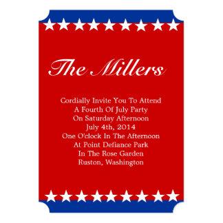 O branco Stars o convite de festas patriótico