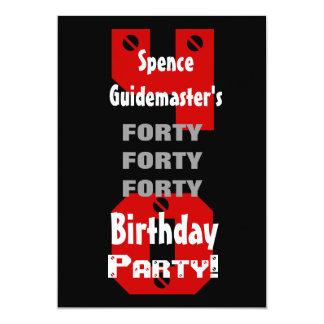 O branco vermelho preto moderno do aniversário de convite 12.7 x 17.78cm