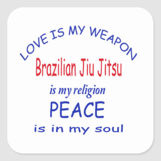 O brasileiro Jiu Jitsu é minha religião Adesivo Quadrado