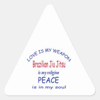 O brasileiro Jiu Jitsu é minha religião Adesivo Triangular