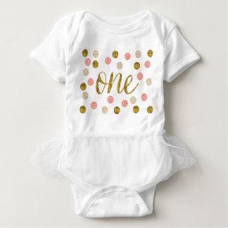 ø Brilho Aniversário-Cor-de-rosa e do ouro Body Para Bebê