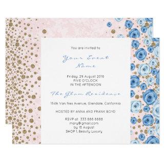 O brilho branco dos confetes azuis do rosa Pastel Convite 8.89 X 12.7cm