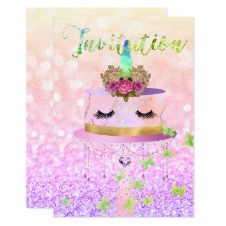 O brilho cor-de-rosa do ouro do unicórnio do bolo convite 8.89 x 12.7cm