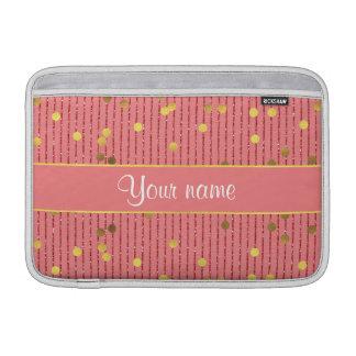 O brilho cor-de-rosa listra confetes do ouro bolsa para MacBook air