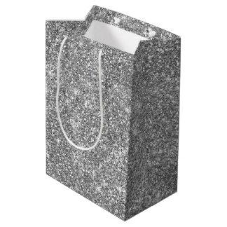 O brilho de prata Stars o saco médio elegante do Sacola Para Presentes Média