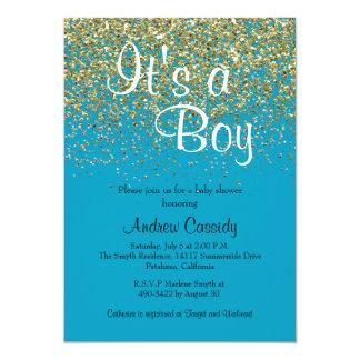 O brilho do azul & do ouro polvilha o chá de convite 12.7 x 17.78cm