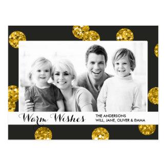 O brilho do ouro pontilha cartões de natal cartoes postais