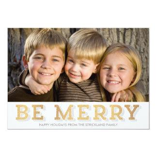 O brilho do ouro seja cartão com fotos alegre do convite personalizados