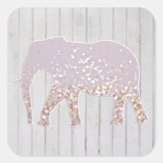 O brilho lunático Sparkles elefante no design de Adesivos Quadrados