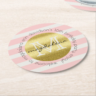 O brilho na moda do ouro do monograma cora listras porta-copo de papel redondo