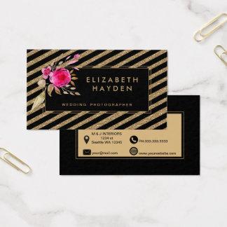 Cartão De Visitas o brilho preto do ouro listra o cartão de visita