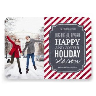 O brilho vermelho listra cartões de foto de Natal