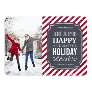 O brilho vermelho listra cartões de foto de Natal Convite 11.30 X 15.87cm