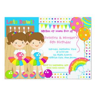 O Brunette junta a festa de aniversário da boliche Convite 12.7 X 17.78cm