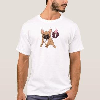 O buldogue francês da jovem corça dourada quer um camiseta