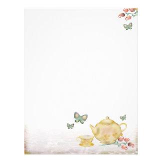 O bule dos rosas floresce o letterhea do copo de c modelos de papel de carta
