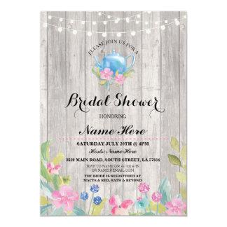 O bule rústico do partido de chá de panela floral convite 12.7 x 17.78cm