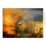 O Burning das casas do parlamento por William Cartão Comemorativo