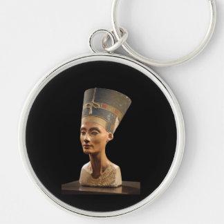 O busto da rainha Nefertiti Chaveiro Redondo Na Cor Prata