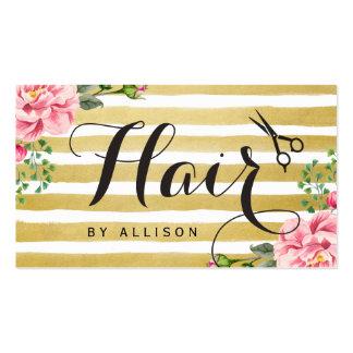 O cabeleireiro Scissors o ouro floral do roteiro Cartão De Visita