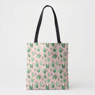 O cacto cor-de-rosa floresce sacola bolsa tote