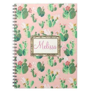 O cacto cor-de-rosa personalizado floresce caderno